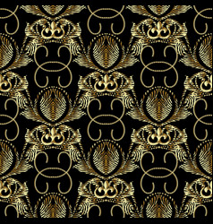 Baroque gold embroidery style 3d seamless patter vector