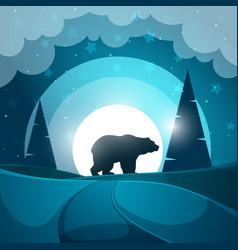 Bear cartoon night landscape vector