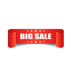 Big sale ribbon icon discount sticker label on vector