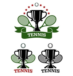 Big tennis sporting emblems vector image