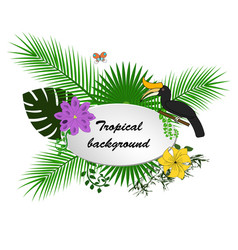 bright hawaiian design with tropical plants and vector image