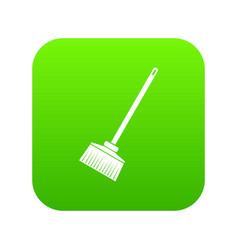 Broom icon digital green vector