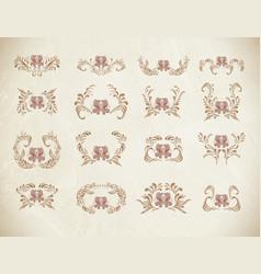 brown vintage floral vector image