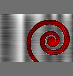 Brushed metal texture with red spiral perforation vector