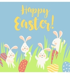 Bunnies and easter eggs vector
