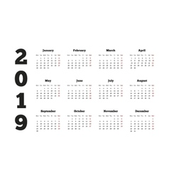 Calendar on 2019 year with week starting from vector