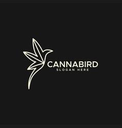 cannabis hummingbird logo monoline vector image