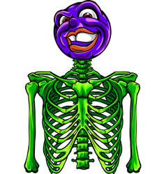 cartoon funny skeleton with smile head vector image