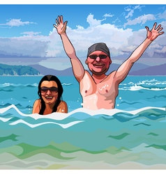 cartoon happy man and woman in the sea vector image