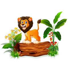 Cartoon lion posing on tree trunk vector
