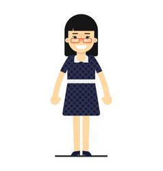 cheerful business woman in blue dress vector image