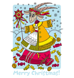christmas goat in traditional ukrainian folk style vector image