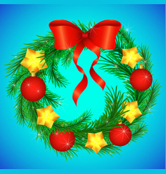 christmas wreath decorated with a red bow with vector image