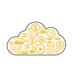 Cloud storage linear style icon vector