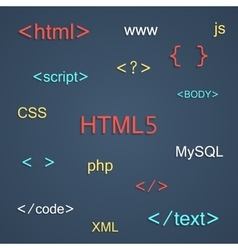 Colored coding and programming lettering vector