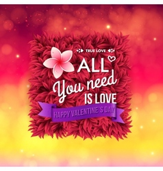 Colorful All You Need Is Love Valentines card vector