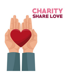 colorful hands charity share love holding in palms vector image