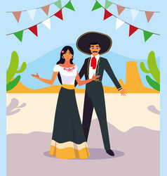 Couple people with mariachi costumes vector