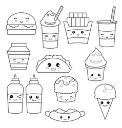 Cute fast food meals cute fast food meals vector