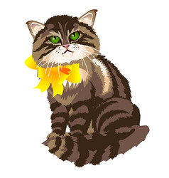 Cute fluffy tabby cat with yellow ribbon bow vector