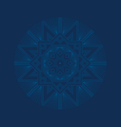 Deep blue sophisticated snowflake vector