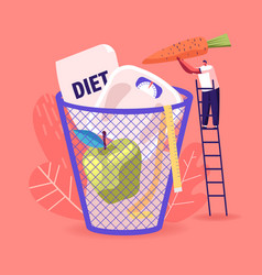 Diet failure tiny male character throw carrot vector