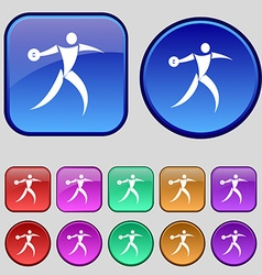 Discus thrower icon sign a set of twelve vintage vector