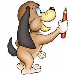 dog and crayon vector image vector image