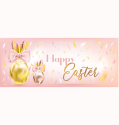 easter cute golden eggs with bunny bow vector image