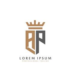 Elegant wordmark ap initial shield crown logo vector
