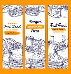 Fast food meal sketch banners set vector
