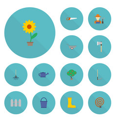 Flat icons wheelbarrow watering can garden hose vector