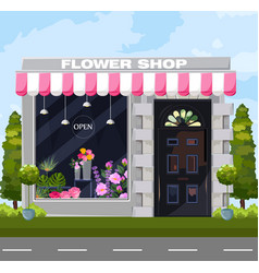 Flowers shop facade architecture detailed vector