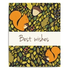 Forest card with acornsleaves and squirrel vector