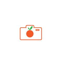 Fresh orange with camera line logo design vector