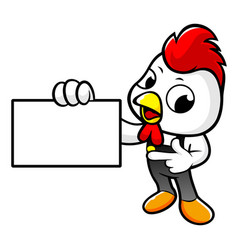 Funny chicken character holding a business card vector