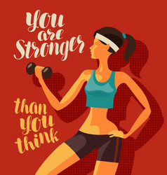 Girl is engaged in fitness sports gym concept vector