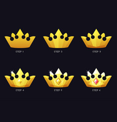golden crowns for game template 6 steps drawing vector image