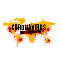 Grunge world map with areas coronavirus vector