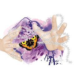 Hands and butterfly vector