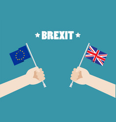 Hands holding european union and british union vector