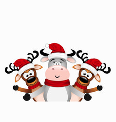 happy bull and two reindeer vector image