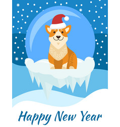 Happy new year poster with beige dog in santa hat vector
