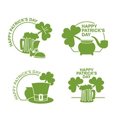 Happy Patricks day emblem Set Green clover and vector image vector image