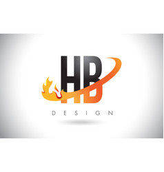 Hb h b letter logo with fire flames design vector