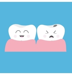 Healthy smiling tooth gum icon Crying bad ill vector image