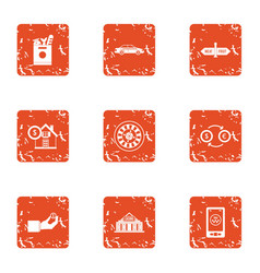 Huge amount of money icons set grunge style vector