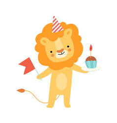 Humanized lion holds a cupcake vector