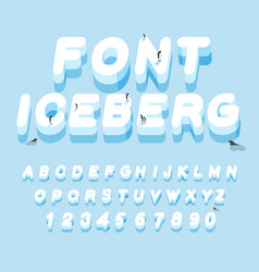 Iceberg font 3d letters of ice ice alphabet vector