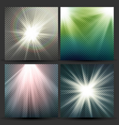 light beam rays set sun flash with rays vector image